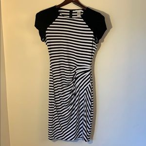 Cache striped mini dress with gather at hip